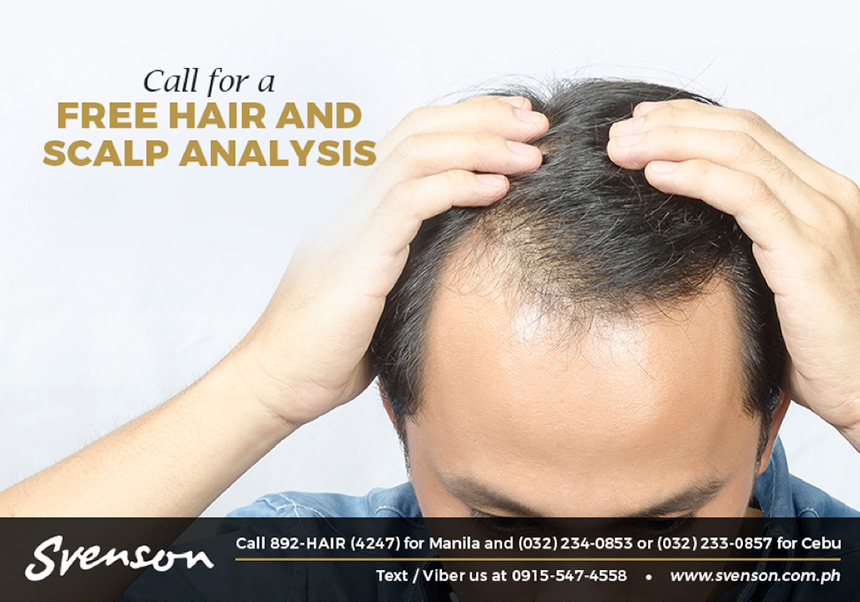 man in a Svenson ad checking his hairline