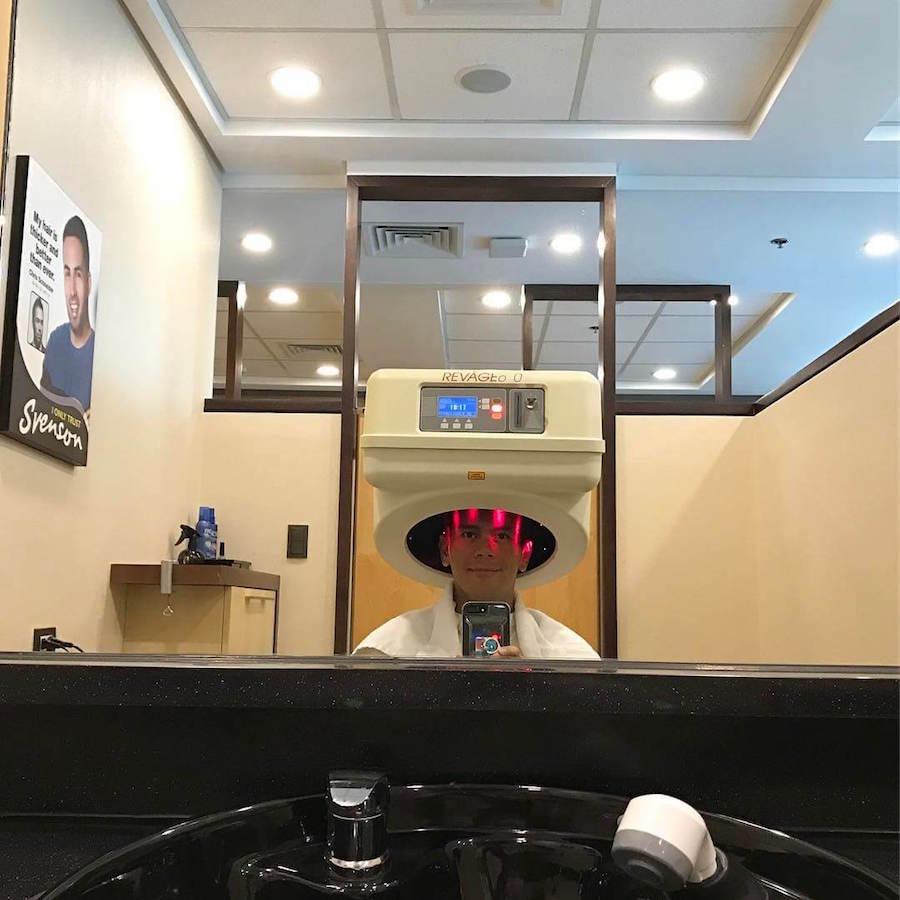 Tonipet Gaba getting Svenson hair treatments