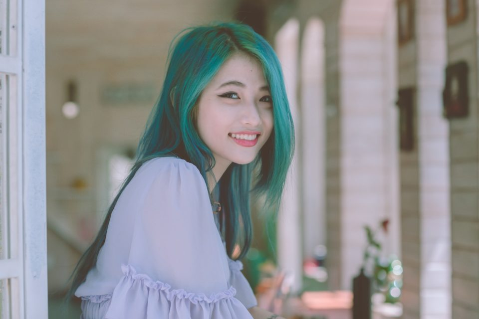 woman with blue-dyed hair