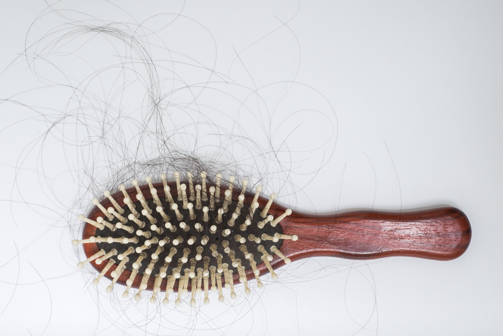 hair stuck to a brush